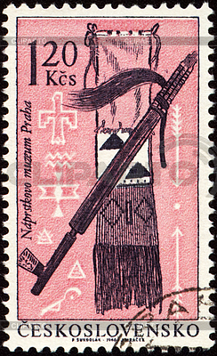 American Indian Handwerkskunst auf Briefmarke | Illustration mit hoher Auflösung |ID 3154965