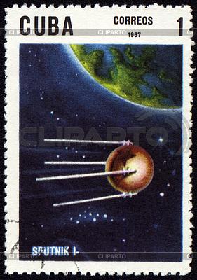 Znaczek pocztowy z pierwszego rosyjskiego satelitę | Stockowa ilustracja wysokiej rozdzielczości |ID 3155029