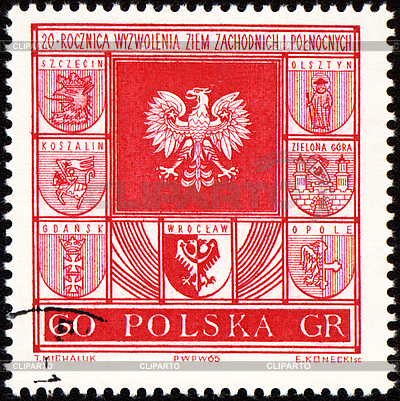 Ramiona miastach w Polsce na znaczku pocztowym | Stockowa ilustracja wysokiej rozdzielczości |ID 3166356