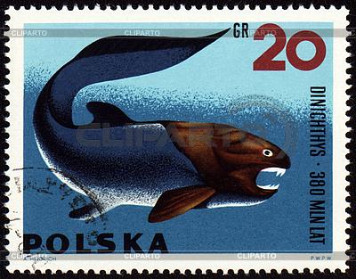 Prehistoric fish Dinichthys on post stamp | Stockowa ilustracja wysokiej rozdzielczości |ID 3180971
