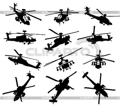Набор силуэтов вертолетов | Векторный клипарт |ID 3247506