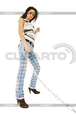 Eine junge Frau geht auf Kette Ihr Haustier | Foto mit hoher Auflösung |ID 3145821