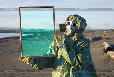 Ecologist shows desert through magic framework   High resolution stock photo  ID 3146410