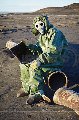 Scientist working with computer - infected area   High resolution stock photo  ID 3146454