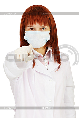 Staff nurse points finger at us | High resolution stock photo |ID 3146669