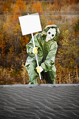 Scientist in gas mask with poster | High resolution stock photo |ID 3147021