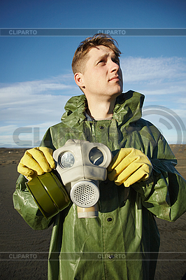 Young scientist breathe air without gas mask | High resolution stock photo |ID 3147069
