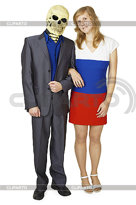 Young woman and skeleton in suit   High resolution stock photo  ID 3147504