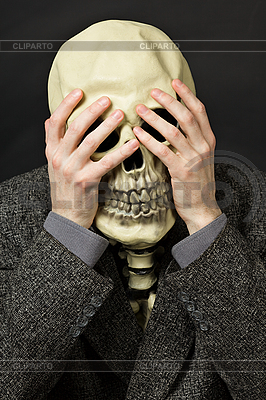 Skeleton covering his eyes | High resolution stock photo |ID 3148781