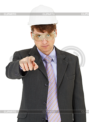 Expert in safety precautions strictly points finger | High resolution stock photo |ID 3149631