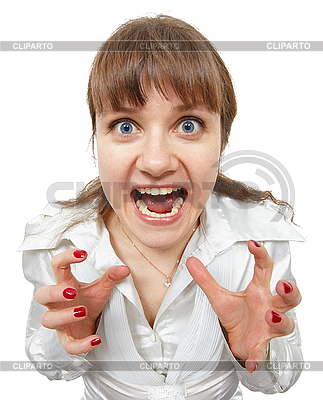 Scared amusing young woman shouts | High resolution stock photo |ID 3149659