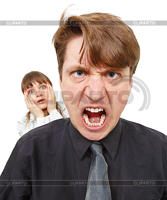 Man angry, he was furious. Woman in horror   High resolution stock photo  ID 3149668