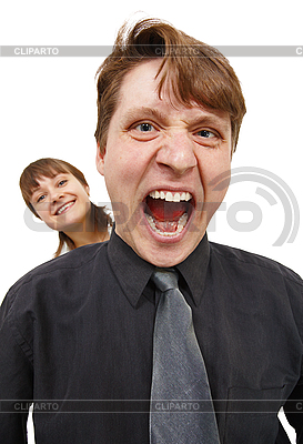 Man in rage and shouted loudly. Woman happy   High resolution stock photo  ID 3149730