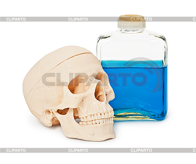 Bottle with blue poisonous liquid and human skull | High resolution stock photo |ID 3149983