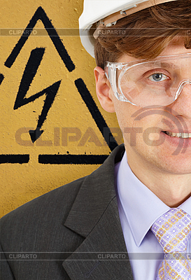 Safety engineer and warning sign | High resolution stock photo |ID 3152681