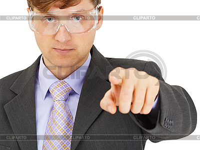 Engineer in goggles shows us | High resolution stock photo |ID 3152699