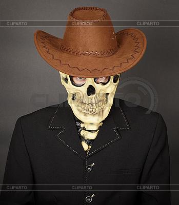Man - skeleton in leather cowboy hat | Foto stockowe wysokiej rozdzielczości |ID 3152733