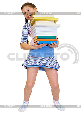 Schoolgirl has large stack of textbooks | High resolution stock photo |ID 3153686