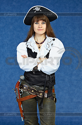 Woman - sea pirate on blue with pistol   High resolution stock photo  ID 3156646