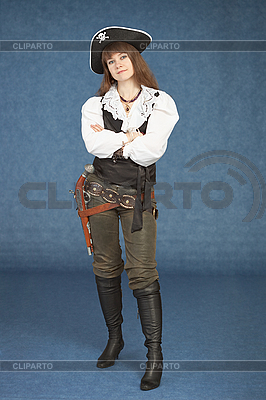 Sexy woman - pirate armed with pistol | High resolution stock photo |ID 3159594