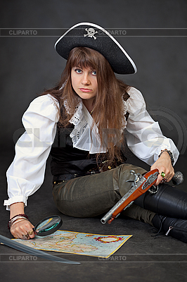 Woman in costume of pirate with sea map | High resolution stock photo |ID 3159628