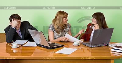 Businessman has fallen asleep sitting at meeting | High resolution stock photo |ID 3160946