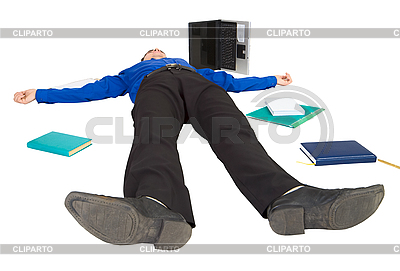 Businessman lies on floor among the things | High resolution stock photo |ID 3161276