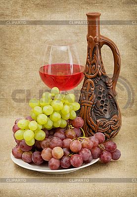 Keramische Flasche, Trauben und Rotwein | Foto mit hoher Auflösung |ID 3165828