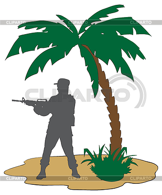 Soldat mit Gewehr in Afrika | Stock Vektorgrafik |ID 3290837