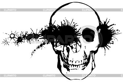 单色垃圾 - 子弹穿过人类头骨 | 向量插图 |ID 3292568