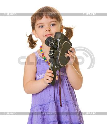 Ciekawy dziecka ze starym kamery | Foto stockowe wysokiej rozdzielczości |ID 3292689