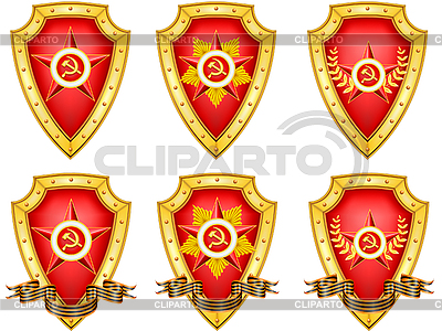 Set of military shields with medals | Stock Vector Graphics |ID 3144081