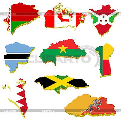 Kolekcja objętość mapy Białorusi, Kanady, Burundi, Burki | Klipart wektorowy |ID 3185484