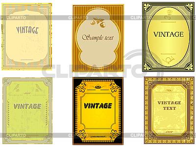 Kolekcja starych etykiet pionowych | Klipart wektorowy |ID 3197488
