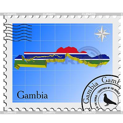 Znaczek pocztowy z mapy Gambii | Klipart wektorowy |ID 3208777