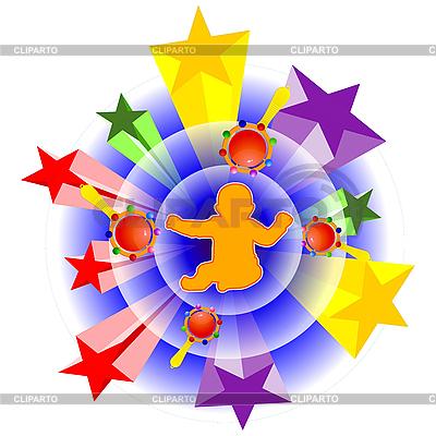 Dziecko z grzechotki | Klipart wektorowy |ID 3208940