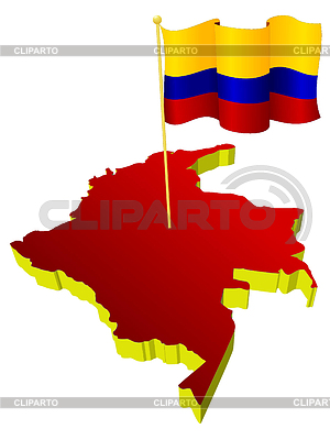 Three-dimensional image map of Colombia with national flag | 벡터 클립 아트 |ID 3244312