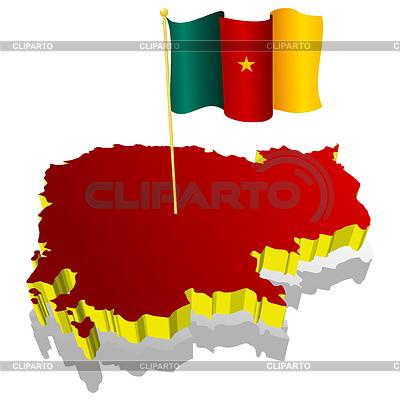 국기 카메룬의 3 차원 영상지도   벡터 클립 아트  ID 3244326