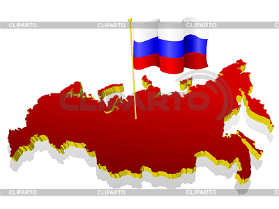 Three-dimensional image map of Russia with national flag | Stock Vector Graphics |ID 3244346