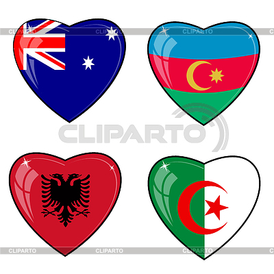 Set of hearts with flags | Stock Vector Graphics |ID 3251424
