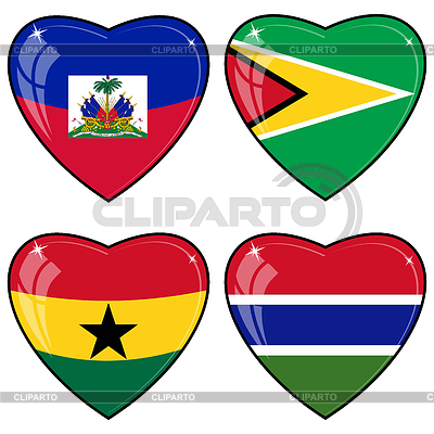 Set of hearts with flags | Stock Vector Graphics |ID 3251445