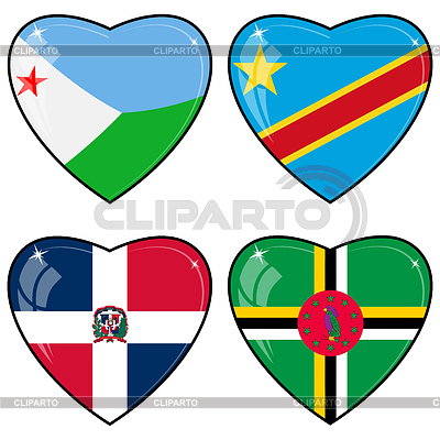 Set of hearts with flags | Stock Vector Graphics |ID 3253407