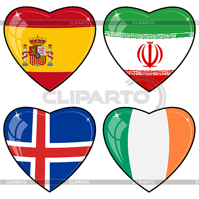 Set of hearts with flags   Stock Vector Graphics  ID 3253416