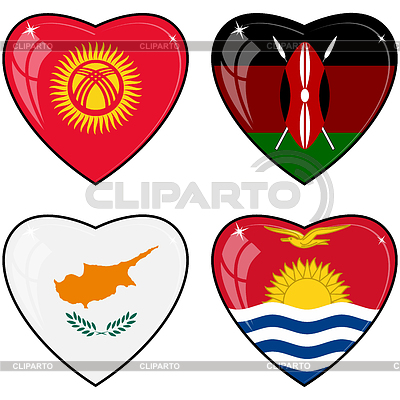 Set of hearts with flags | Stock Vector Graphics |ID 3253425