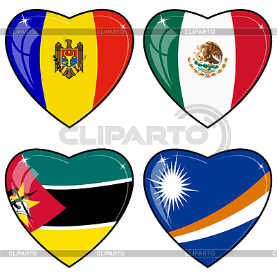Set of hearts with flags | Stock Vector Graphics |ID 3253452