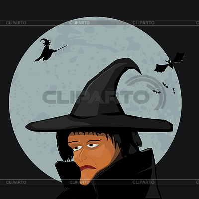 Witch on background of Moon | 벡터 클립 아트 |ID 3266910