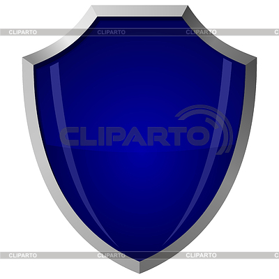 Blue glass shield in steel frame | Stock Vector Graphics |ID 3266925