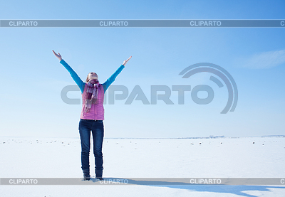 Teen girl staying with raised hands   High resolution stock photo  ID 3223979