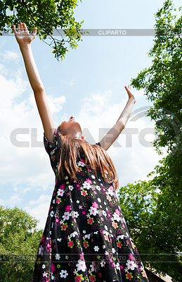 Teen girl with raised hands | High resolution stock photo |ID 3301363