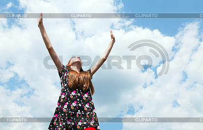 Teen girl with raised hands | High resolution stock photo |ID 3301364